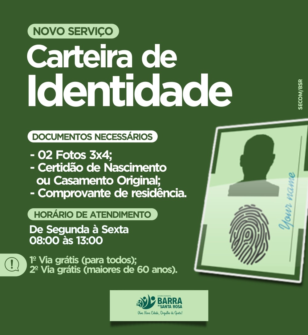 Pela primeira vez na Prefeitura Municipal estão sendo emitidas Carteiras de Identidade