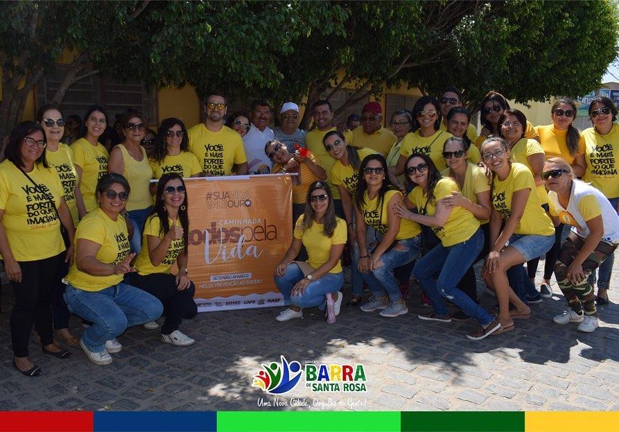 Secretaria de Saúde juntamente com a equipe do CRAS, realizaram uma caminhada em alusão ao Setembro Amarelo