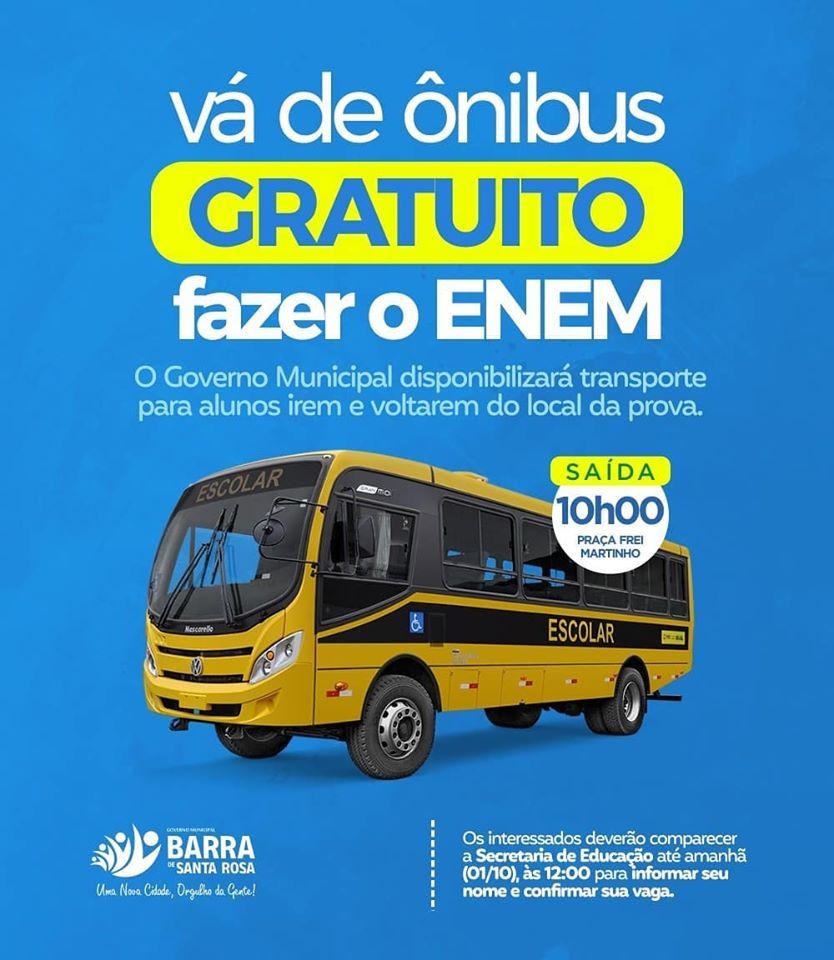 Governo Municipal irá disponibilizar transporte gratuito para alunos que irão realizar a prova do ENEM