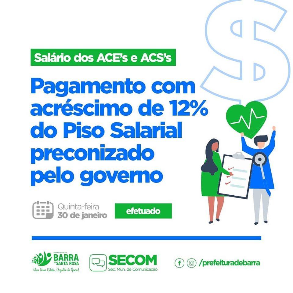 Pagamento com acréscimo de 12% do Piso Salarial preconizado pelo governo